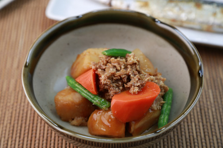 stewed: Potatoes stewed with beef