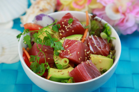 Poke  Hawaiian seafood Stock Photo