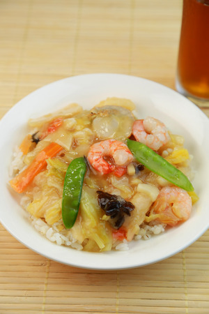 starchy food: chukadon  It is a bowl for Chinese bean jam Stock Photo