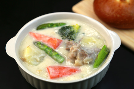 white cream: white cream stew Stock Photo