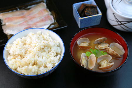 white necked: Japanese food  Cereals rice and miso soup