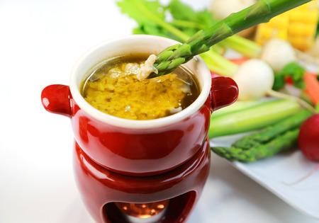 Bagna Cauda / italian warm dip served with fresh vegetables