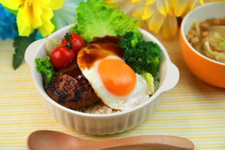 loco: loco moco hamburger plate  hawaiian cuisine