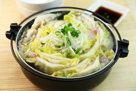 Japanese cuisine, chinese cabbage and pork hot pot Stock Photo