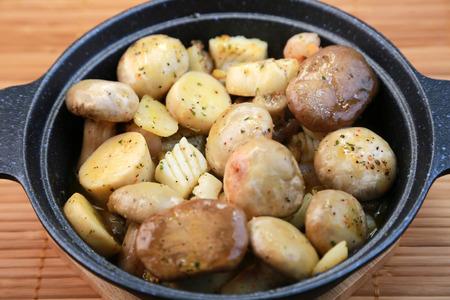 spanish tapas: Ajillo, Mushrooms with garlic, Spanish tapas cuisine