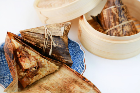 Chimaki  Rice dumpling wrapped in bamboo leaves photo