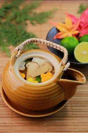 Dobinmushi  a dish made by steaming mushrooms, vegetables  Japanese food photo
