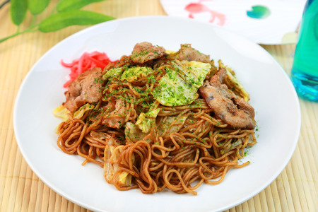 chow: Japanese food, Yakisoba, Noodles seasoned with Worcester sauce Stock Photo