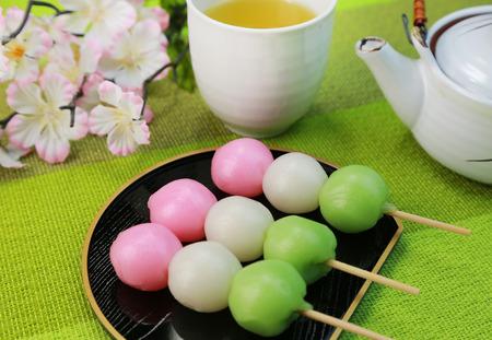 sanshoku: Sanshoku Dango  Japanese sweet Stock Photo