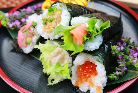 手捲壽司temaki 日本菜 版權商用圖片