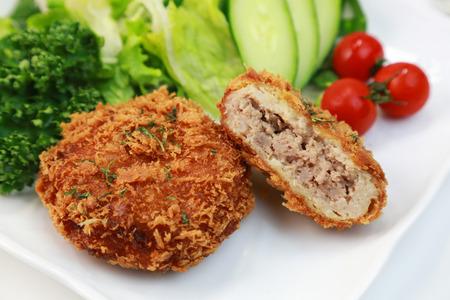 Minced meat cutlet Menchikatsu  Japanese food 版權商用圖片
