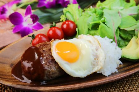 Loco Moco:A Hawaiian style mixed-grill on rice