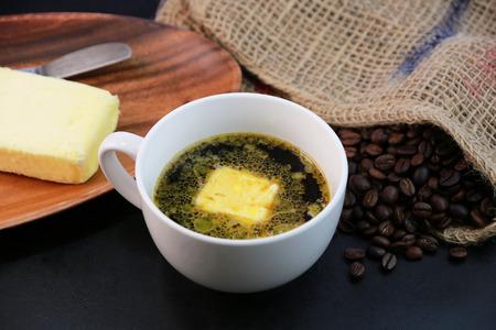 バター コーヒー 写真素材
