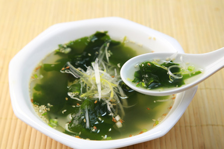 Seaweed soup Stock Photo