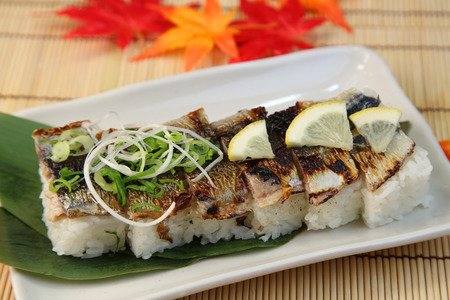 Pressed sushi of the saury