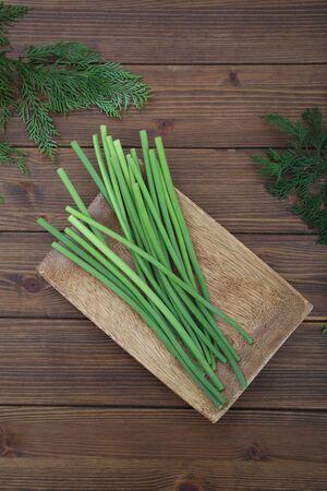 Fresh garlic shoots