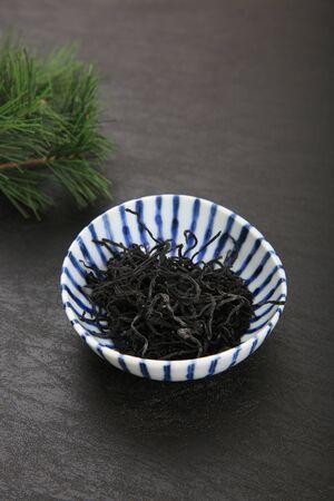 The brown alga is used as ingredients mainly. It is often sold as a dried brown alga (dry a brown alga) Standard-Bild - 146265569