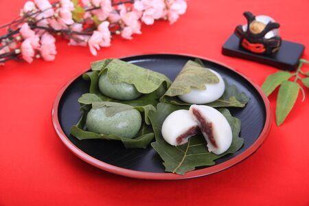 Rice cake containing bean jam wrapped in an oak leaf which I served in a plate