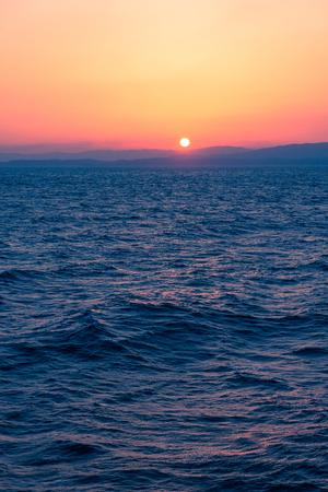 Sunset Sea on the Shipboard, Off the Coast of Fukushima, Japan Stock Photo
