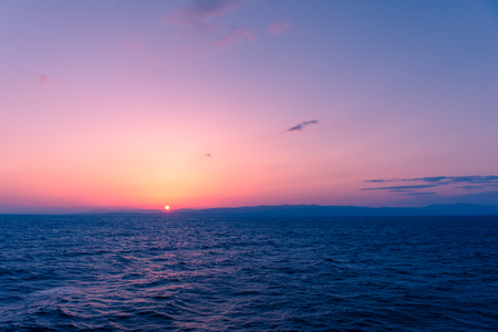 Sunset Sea on the Shipboard, Off the Coast of Fukushima, Japan Stock Photo