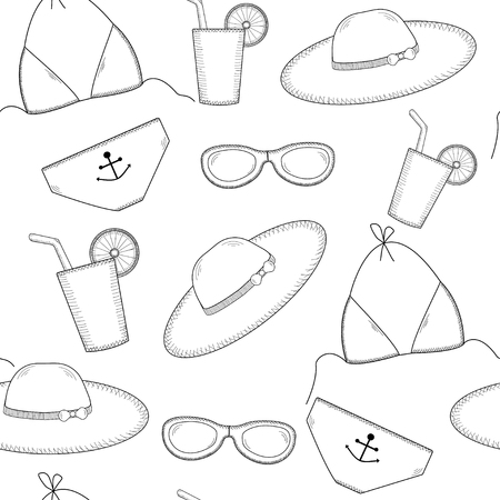 coctail: Seamless pattern with sun glasses, bikini, hat, coctail