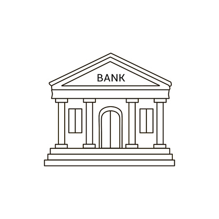 Bank Building Icon Lines Drawing Stock Vector