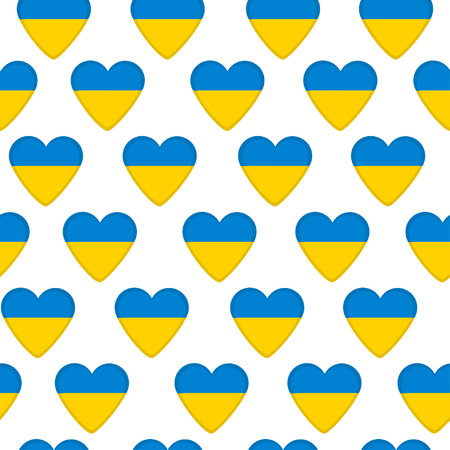 ukrainian flag: Seamless pattern, hearts with  Ukrainian flag