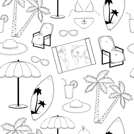 summer holiday: Travel seamless pattern. Beach holiday. Summer holiday. Vacation.