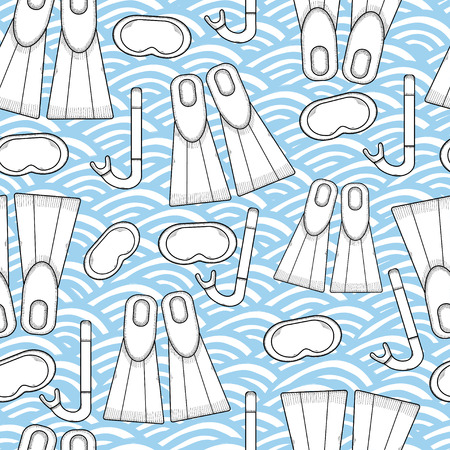 flipper: Seamless pattern for diving theme. Skuba diving symbols.  Tube, diving mask, flippers. Summer holiday. Vacation. Travel Illustration