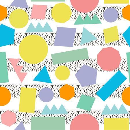80s: Ceometric seamless pattern. Colorful retro background.Abstract.  80s - 90s years design style.Trendy