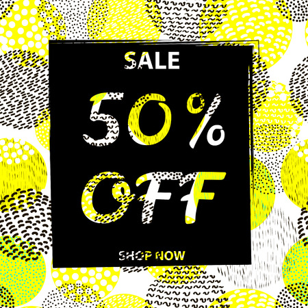50  off: Sale poster 50% Off on the circles colorful  background