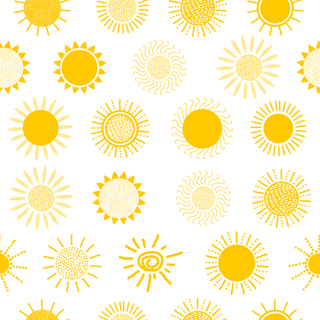 suns: Suns seamless pattern on the white background