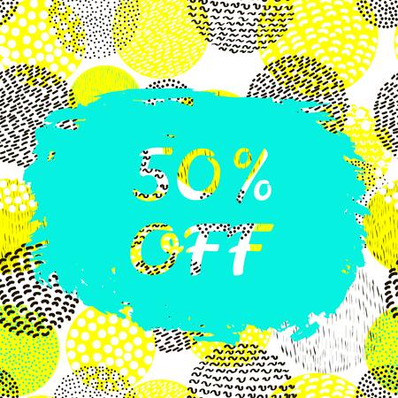50  off: Sale bunner. Colorful background. 50% off. Illustration