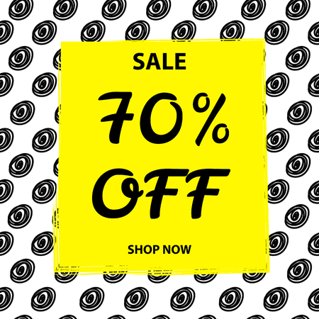 bunner: Sale bunner, background. 70% off. Black and yellow Illustration