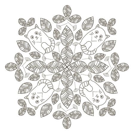 Dibujar A Mano Las Hojas Con Las Aves, El Fondo Del Círculo. En ...