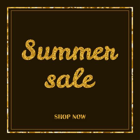 sammer: Sammer sale poster, banner. Gold creative text and frame on the dark background