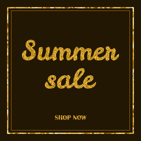 Sammer sale poster, banner. Gold creative text and frame on the dark background