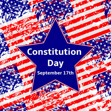 Constitution Day September 17 text on the blue  star, USA flags background.