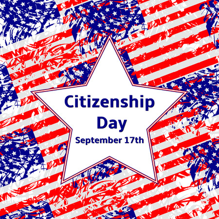citizenship: Citizenship Day September 17 text on the white  star, USA flags background.