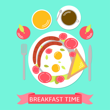 Food illustration with eggs, parts of tomato, tost with cheese, sausage, apples, orange juice and coffee.  Breakfast time. Colorful background Çizim