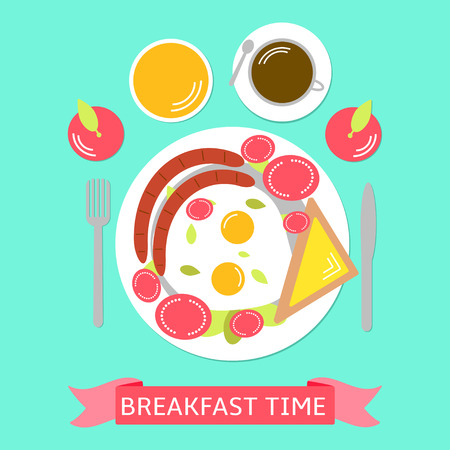 Food illustration with eggs, parts of tomato, tost with cheese, sausage, apples, orange juice and coffee.  Breakfast time. Colorful background Stok Fotoğraf - 61212412