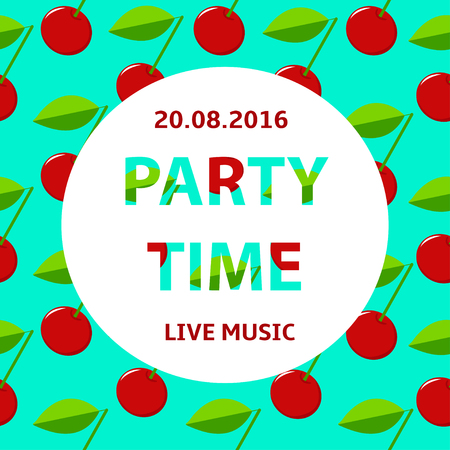 party time: Party time poster, cherry colorful  background