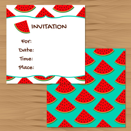 watermelon woman: Invitation cards. Watermelon colorful backgrounds Illustration