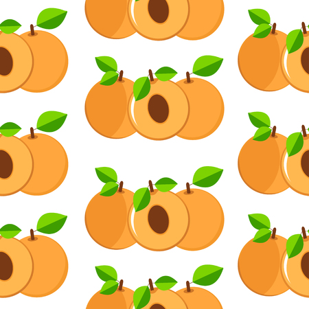 apricots: Apricots seamless patterns. Colorful fruits  on the white background Illustration