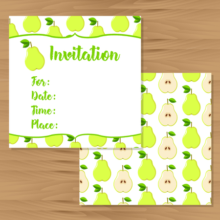 pears: Invitation cards. Pears colorful background