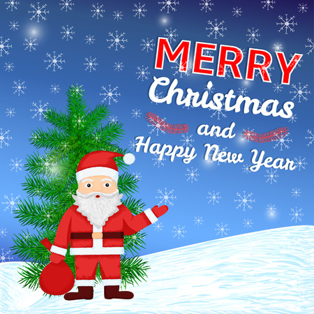 Merry Christmas and New Year colorful background with hand drawn Santa Claus, pine and snowflakes