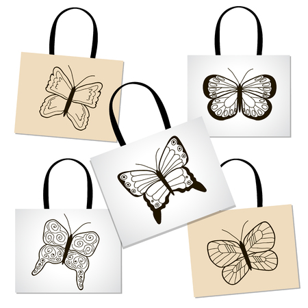 Shopping bags with hand draw butterflies. Set. Vector.