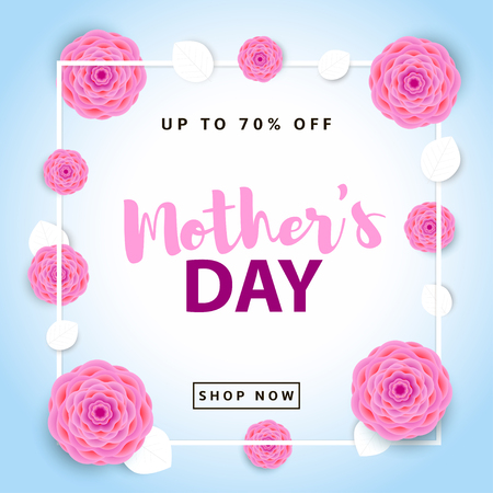 Mothers Day sale poster. Creative background with flowers and leaves. Colorful template for your design and text. Illustration