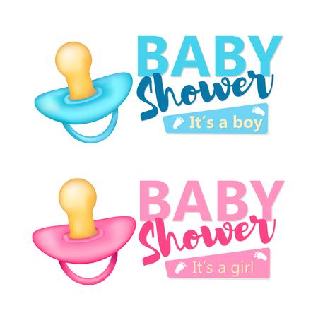 pezones: Baby Shower conjunto. Icono azul y rosado realista de los pezones. Vector.