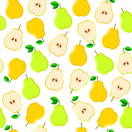 Seamless vector pattern with yellow and green pears on the white background.The whole and half part of fruits Illustration